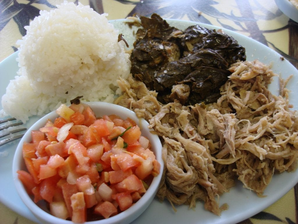 Kalua Pork Plate with Rice and Lomi Lomi