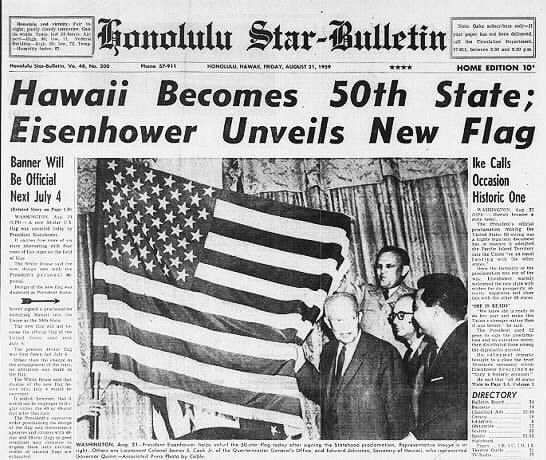 Honolulu Star Bulletin newspaper announces Hawaiian Statehood Day