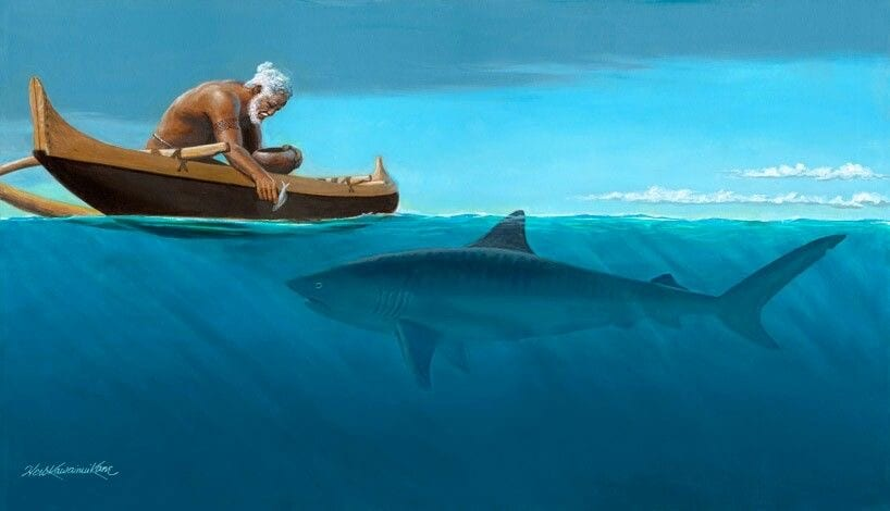 a painting of an elderly man in a canoe with a Hawaii Island shark swimming below