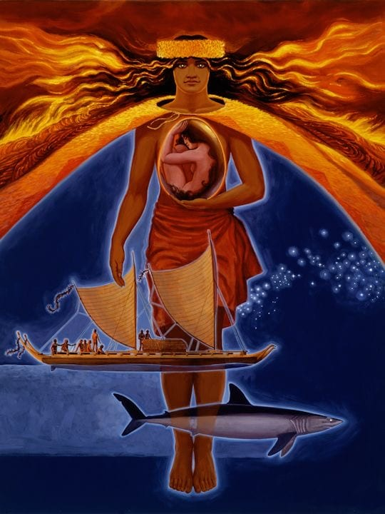 a painting of Pele, a canoe, and a Hawaii Island shark