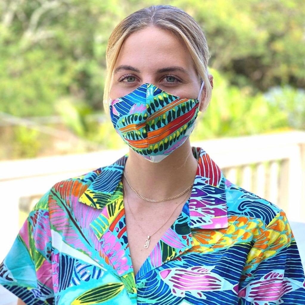 woman wearing Hawaii face masks for Jams World