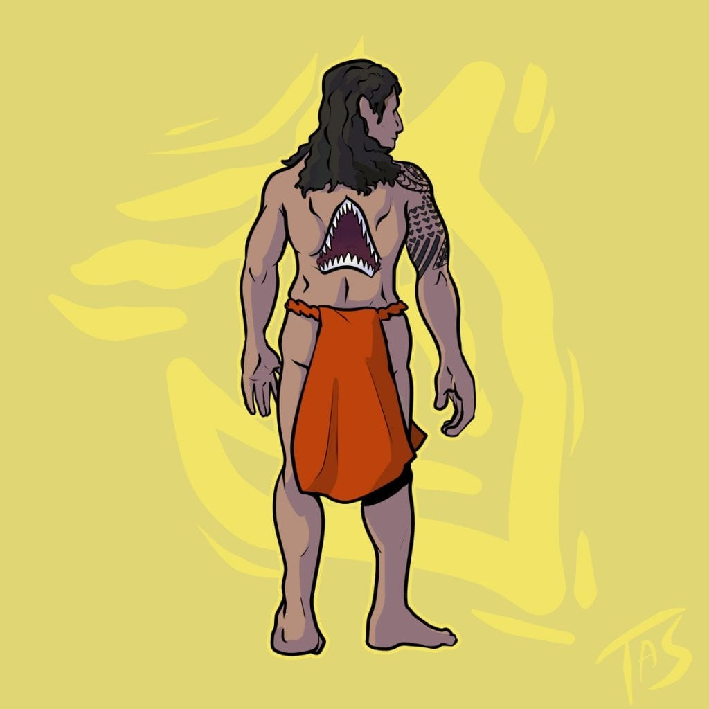 a depiction of Nanaue, a ma with a shark mouth on his back