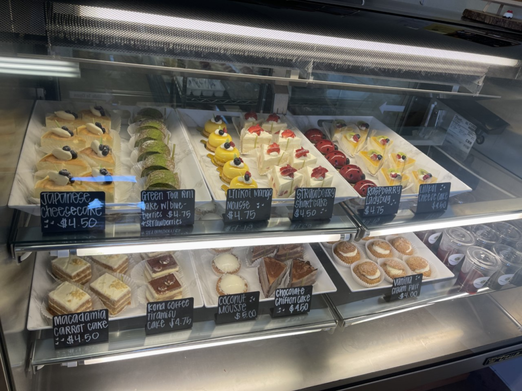 A pastry display case from Patisserie Nanako